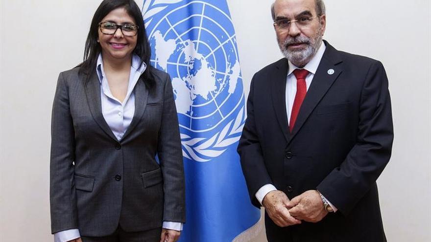 La canciller venezolana Delcy Rodríguez aborda en la FAO los programas contra el hambre
