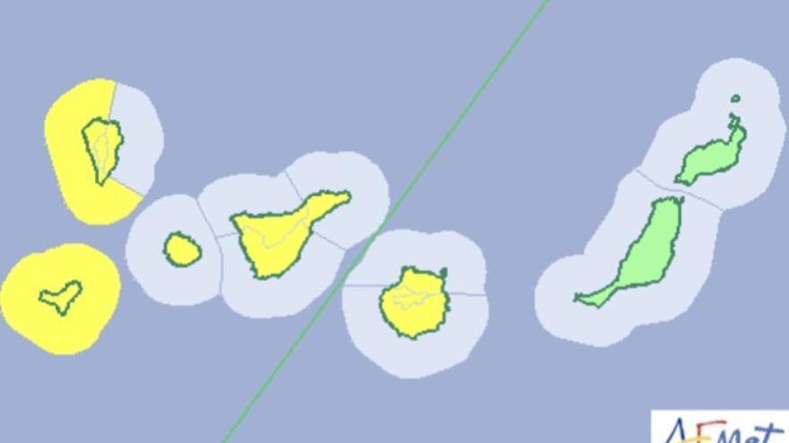 Mapa del aviso de riesgo por viento y fenómenos costeros para este lunes, 26 de febrero de 2018.