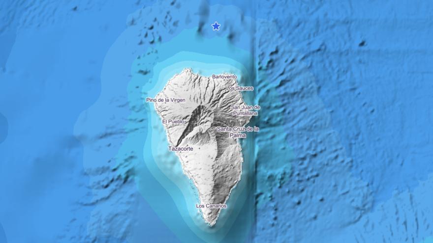 Imagen del IGN donde se indica el lugar exacto donde se ha localizado el movimiento sísmico este lunes, a las 03.18 horas, en el mar, al norte de La Palma.