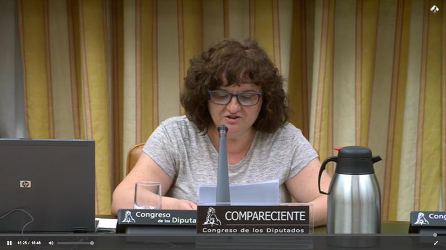 Yolanda García, portavoz de Las Kellys de Benidorm, en el Congreso de los Diputados.