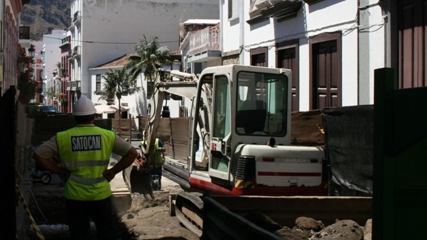 En la imagen, uno de los tramos en obra de la Calle Pérez de Brito.