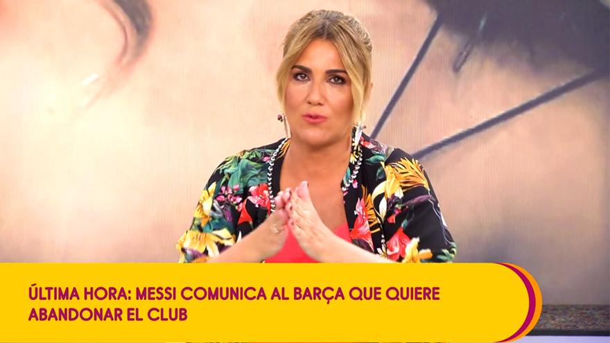 Carlota Corredera, en el momento de dar la noticia de Messi en 'Sálvame'