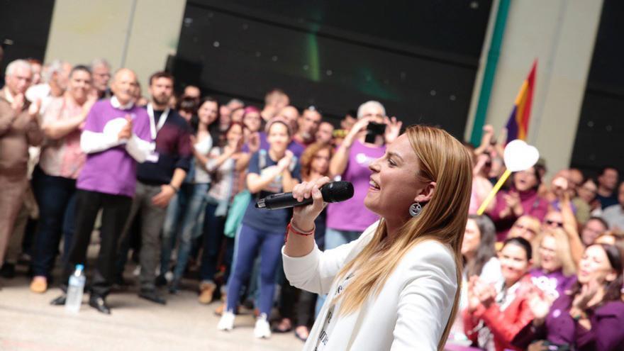Noemí Santana, durante el acto de Unidas Podemos celebrado en Las Palmas