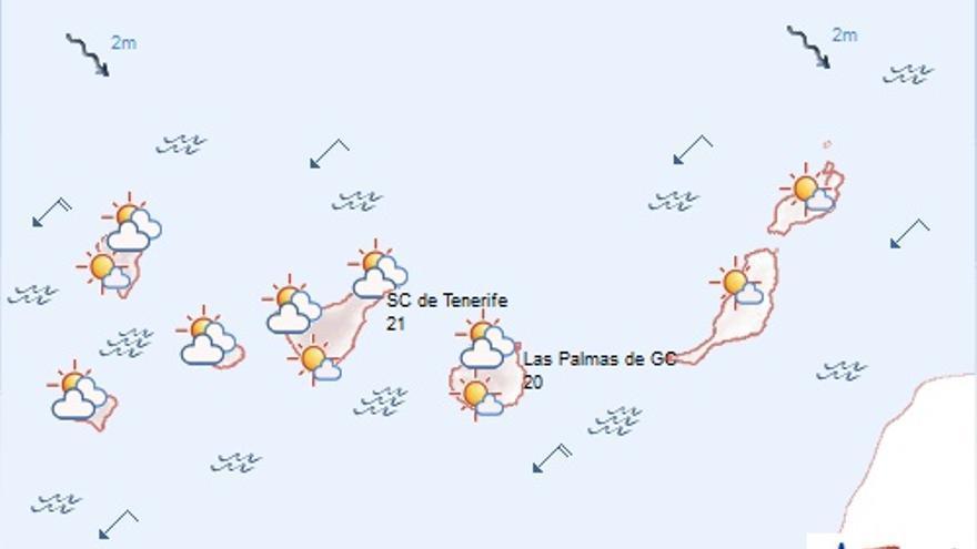 Mapa del tiempo de la Aemet para este domingo, 8 de noviembre de 2015.
