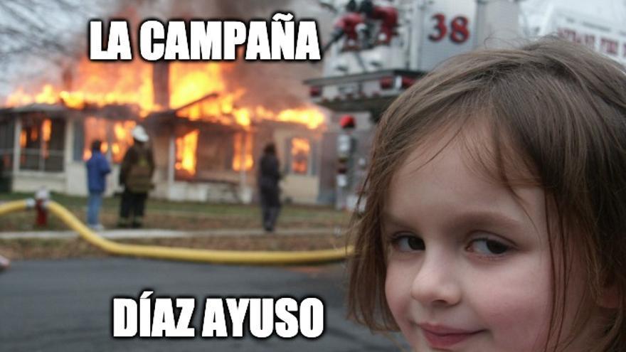Meme de Disaster Girl aplicado a la campaña de Madrid.