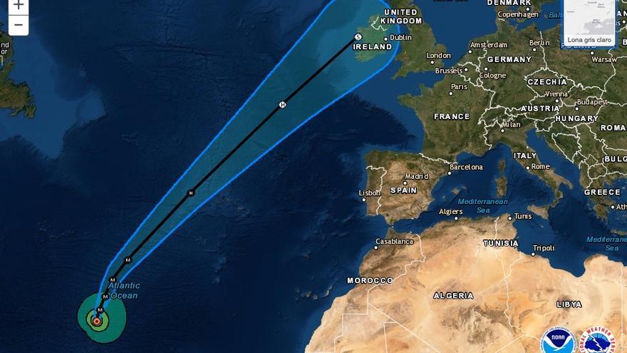 Trayectoria estimada del huracán Lorenzo, de categoría 5, hacia Azores y las islas británicas