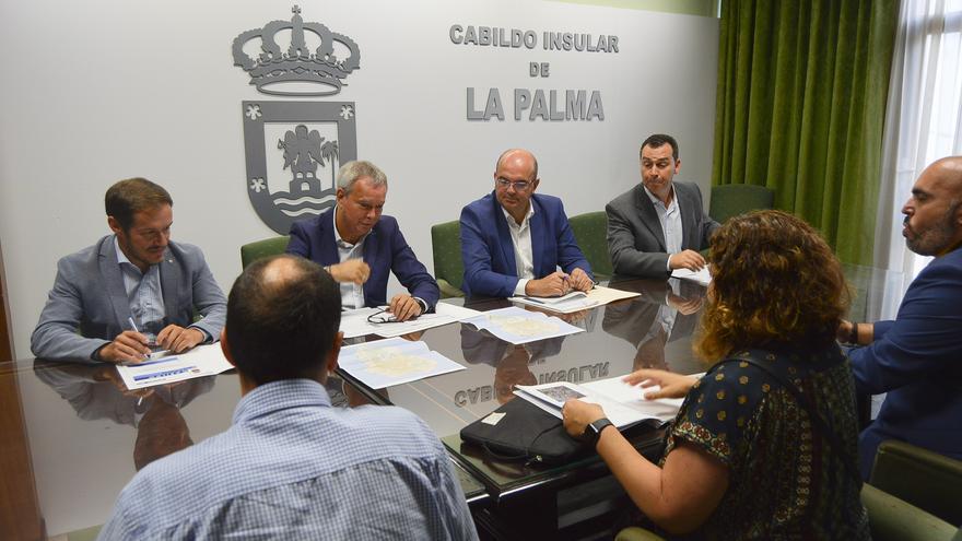 Sebastián Franquis (c), con Mariano Hernández Zapata (i) y Anselmo Pestana, con varios técnicos, en la reunión celebrada en el Cabildo de La Palma.