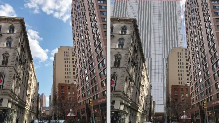 Prototipo de una de las cuatro cárceles de 45 pisos en Nueva York. La altura de las torres se ha reducido a 29 pisos.