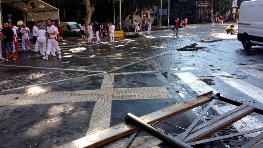 El vallado, ya desmontado tras el último encierro de los sanfermines 2015.