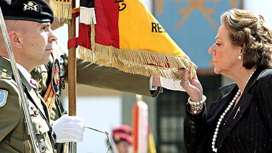 Rita Barberá en un acto del ejército en Valencia.
