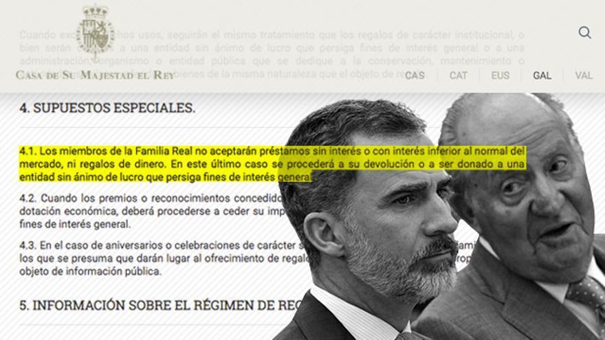 La normativa impuesta por Felipe VI en la familia real impide a Juan Carlos I recibir préstamos con intereses por debajo de mercado
