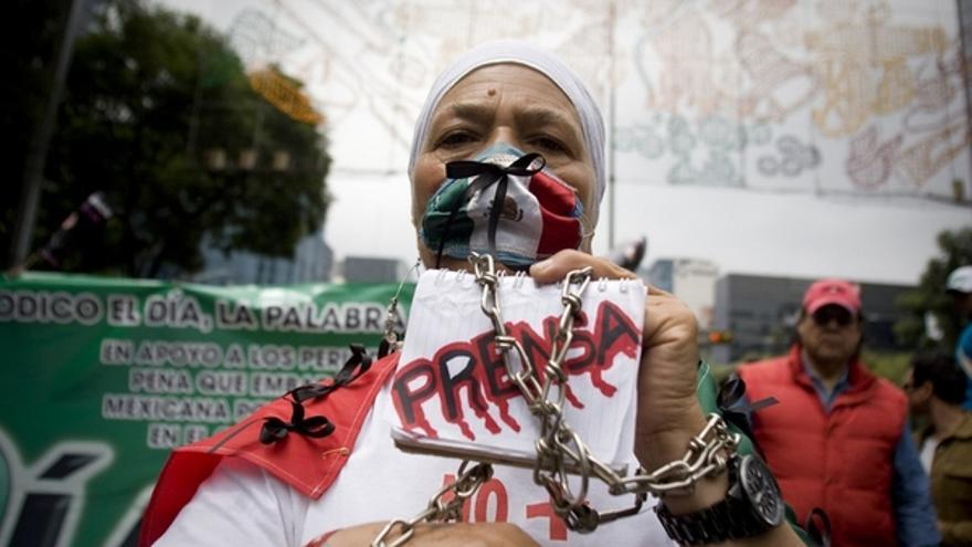 Una periodista reclama libertad y seguridad para la prensa en México © Ivan Duff Cuevas Hernandez/Demotix