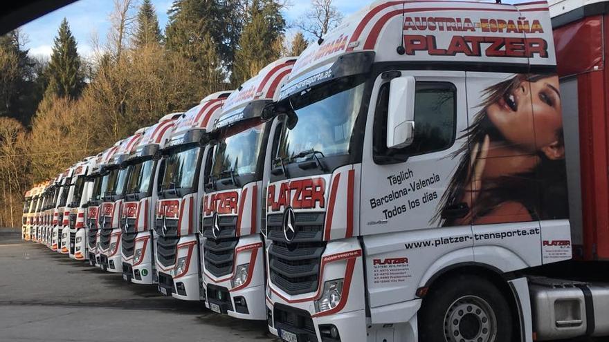 Camiones de la flota de la empresa de transporte Platzer con la imagen de una mujer en la cabina