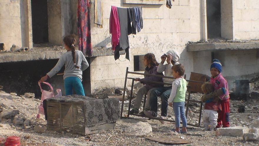 Imagen tomada en Alepo cedida por un refugiado sirio en España, cuyo caso ha llevado Accem. Le envía la foto su hermano, que todavía sigue en la ciudad siria.