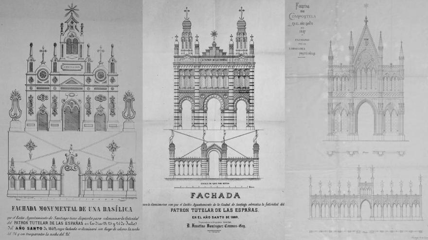 Diseños de las fachadas creadas para los fogos do Apóstolo en 1869, 1880 y 1897, incluídos en la investigación del profesor Taín