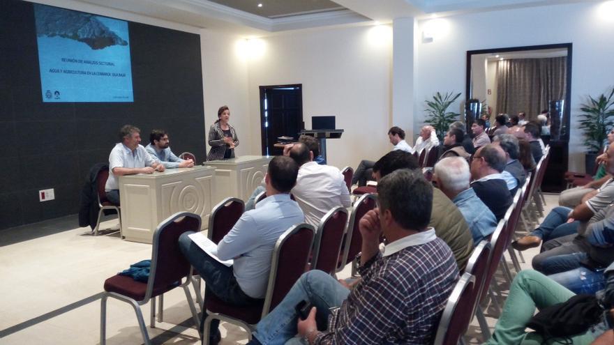 Miguel López, de COAG; Manuel Martínez, consejero insular de Aguas (PSOE), y Ángela Delgado, de Asaga, este martes
