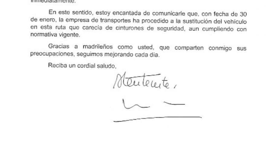 Carta de Cristina Cifuentes enviada a la madre Manuela