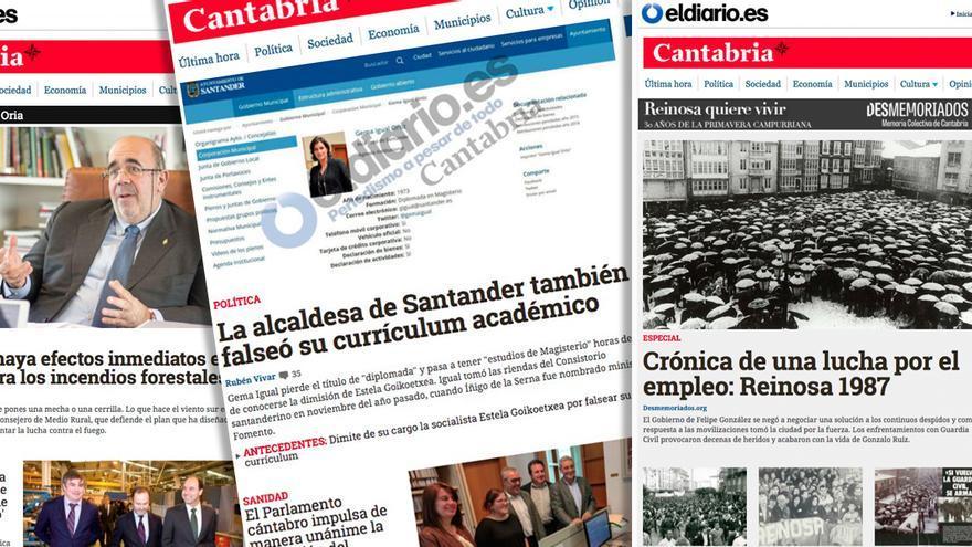 Portadas de la edición de Cantabria de eldiario.es