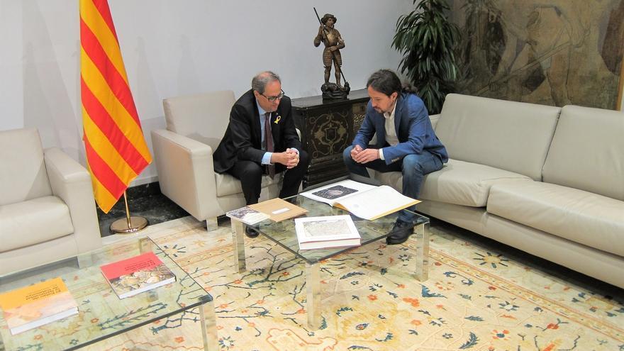 Iglesias defiende un referéndum de autodeterminación y pide a Torra que sus diferencias con PSOE no impidan hablar
