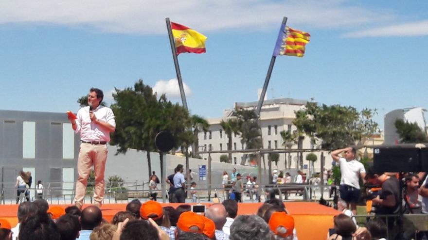 Albert Rivera, durante el acto de Ciudadanos en el Puerto de Valencia.