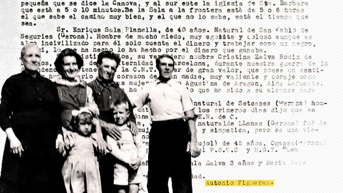 La familia Sala, con Cristina Zalba en el centro. De fondo, el informe de Antonio Figueras para el PCE