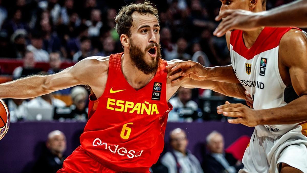 Sergio Rodríguez, con la selección española