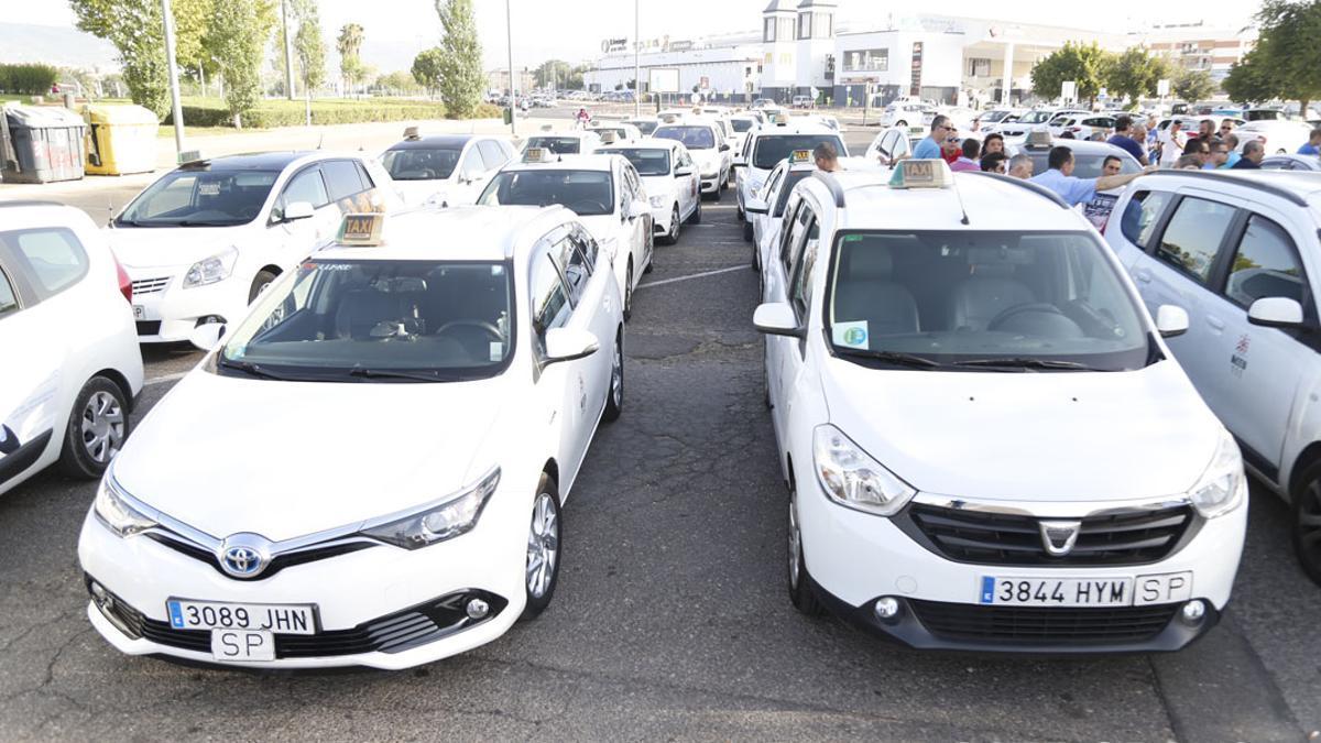 Imagen de archivo de una asamblea de taxistas en el Arenal.