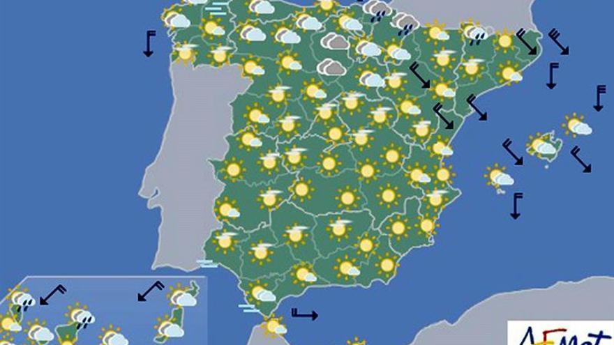 El tiempo estable predominará hoy en la mayor parte de la península