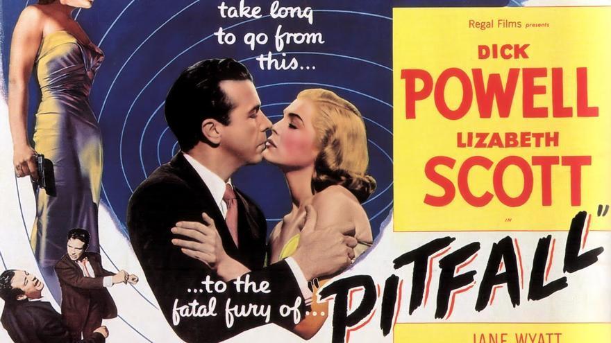 Cartel de 'Pitfall' (1948), protagonizado por Dick Powel y Lizbeth Scott.