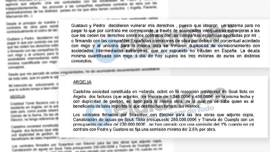Extracto de la carta que el denunciante del caso Arístegui remitió al jefe de gabinete de Rajoy, Jorge Moragas.
