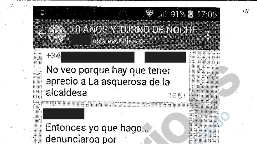 Captura del chat de policías municipales.