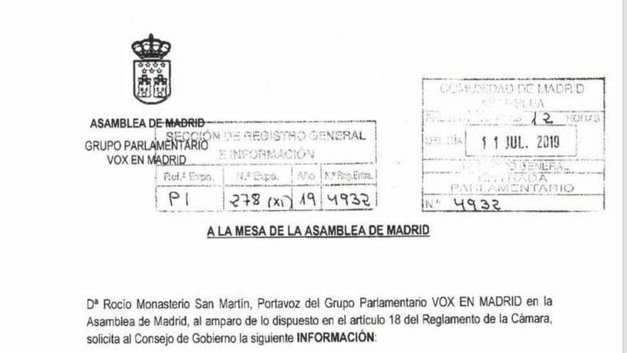 La petición registrada por Rocío Monasterio a la Mesa de la Asamblea de Madrid