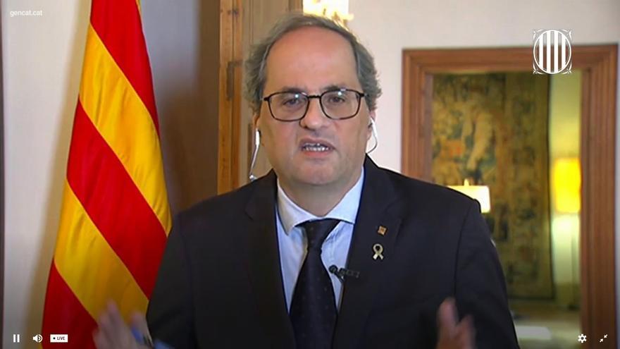 Torra explica que los datos de muertes en Cataluña se han duplicado, hasta 7.097, al tener datos de funerarias