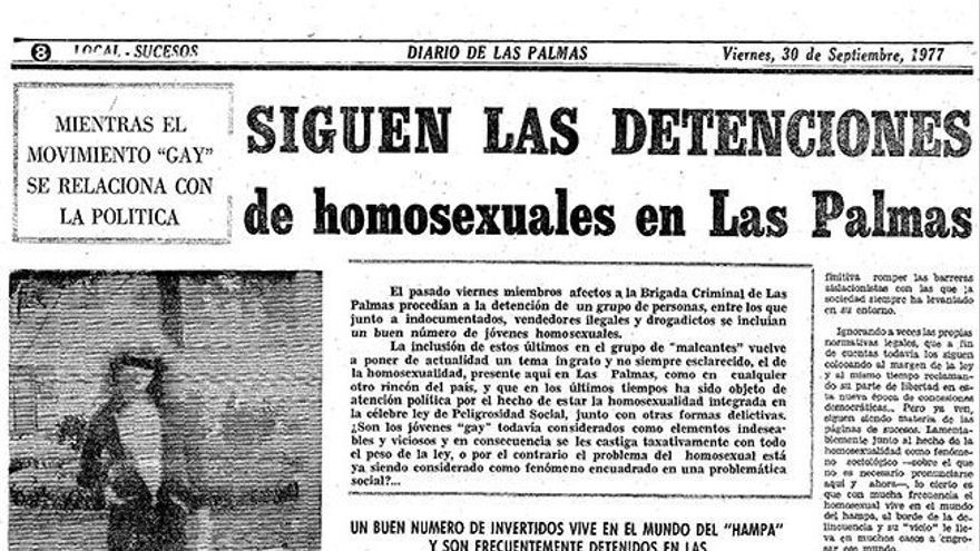Las detenciones de homosexuales se hacía eco en la prensa local. Ejemplar del 'Diario de Las Palmas' en 1977