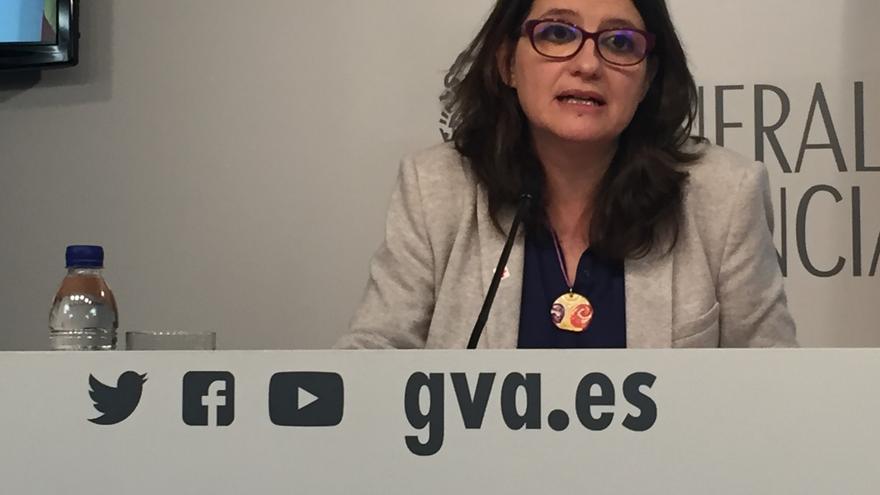 Mónica Oltra, tras una reunión del gobierno valenciano.