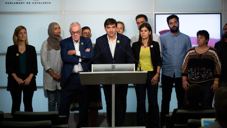 El grupo de ERC en el Parlament de Catalunya durante una rueda de prensa