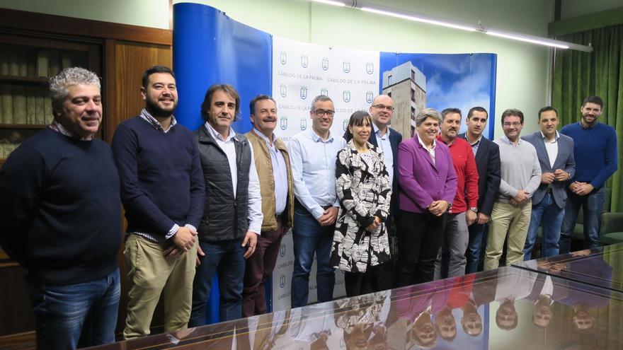 El presidente del Cabildo, Anselmo Pestana, este miércoles, con los máximos responsables de los 14 ayuntamientos de La Palma.