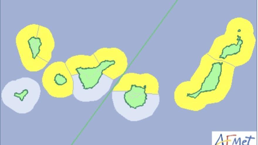Mapa de la Aemet del aviso de riesgo por fenómenos costeros para este martes, 10 de abril de 2018,