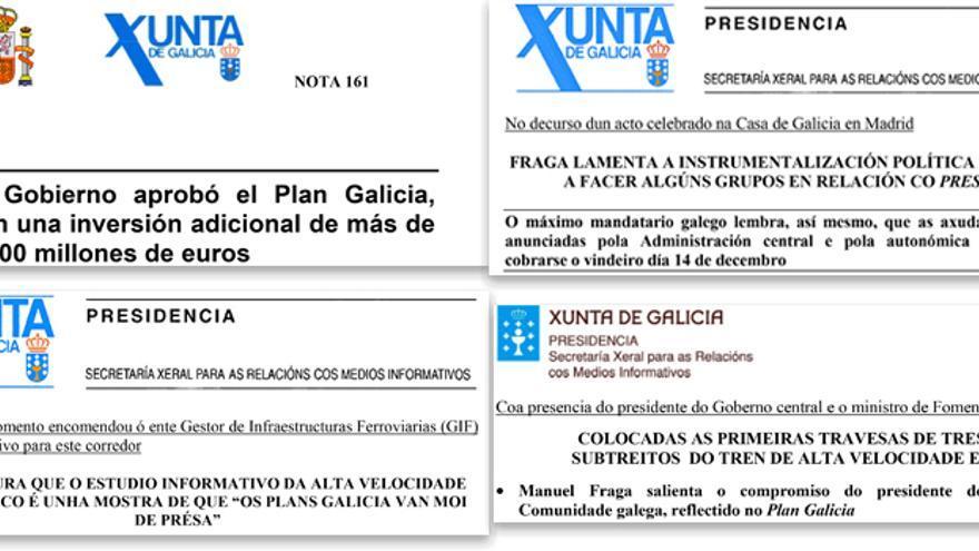 Comunicados de Xunta y Gobierno central sobre el Plan Galicia y el Prestige