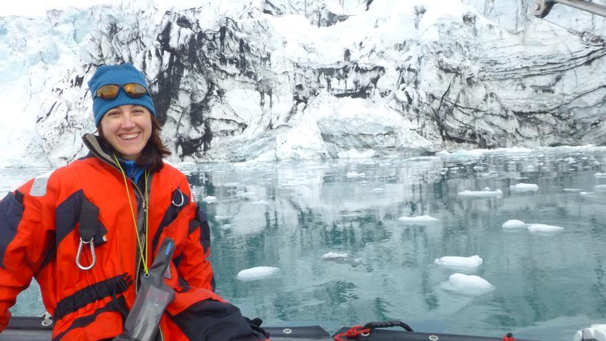 La médico cántabra Isabel Incera durante su estancia en la Antártida.