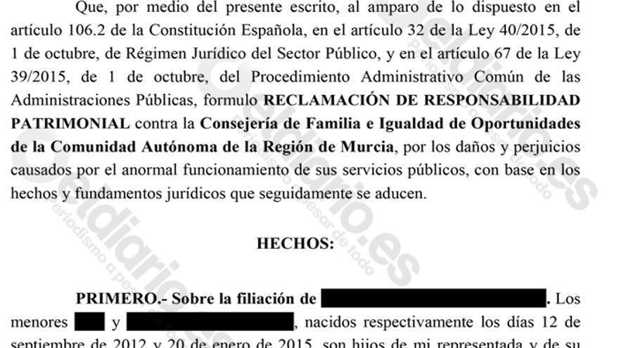 Extracto de la demanda presentada por responsabilidad patrimonial contra la Consejería de Familia de Murcia