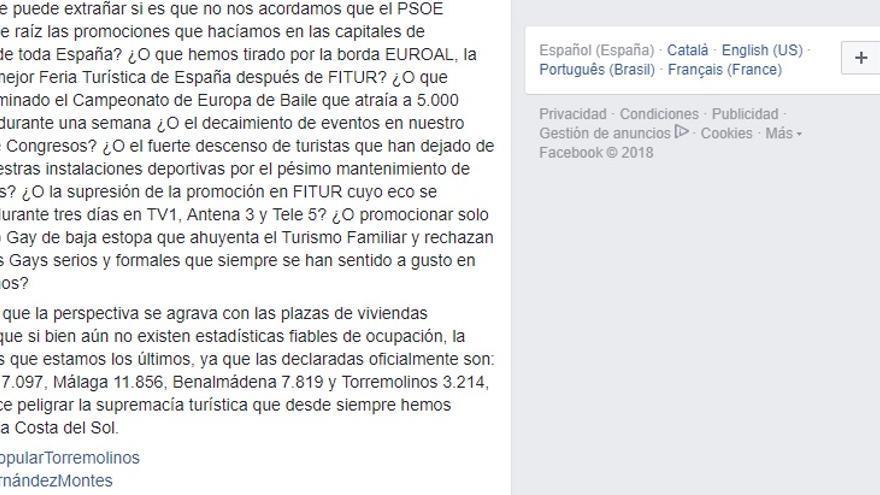 Captura de pantalla del Facebook del PP de Torremolinos