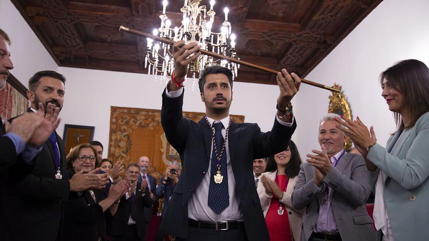 Luis Yeray Gutiérrez, feliz tras ser proclamado alcalde en el pleno de este mediodía en La Laguna