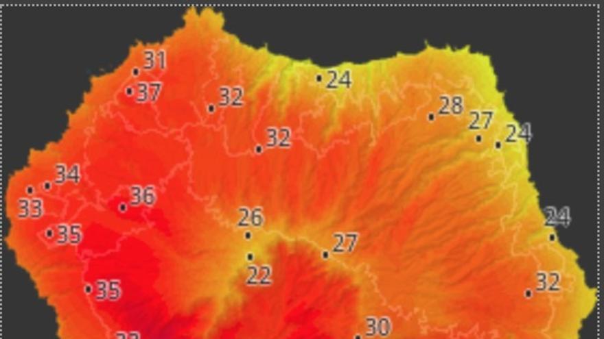 Mapa de HD Meteo La Palma donde se indica la temperatura que, a las 14.520 horas de este sábado, 17 de agosto, se registraba en distintos puntos de La Palma.