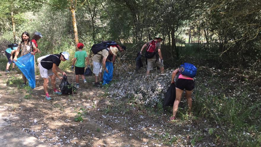 Personas limpiando un espacio natural