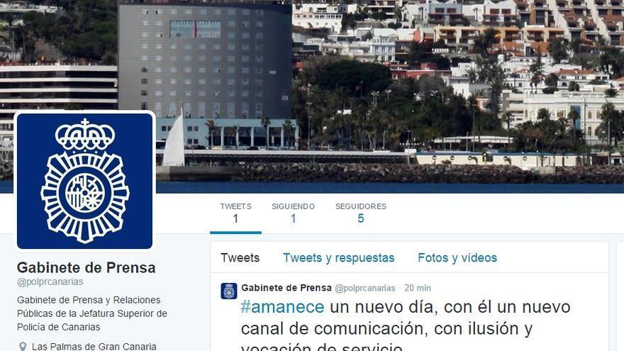 Pantallazo de la cuenta de la cuenta de la Jefatura Superior de Policía de Canarias.