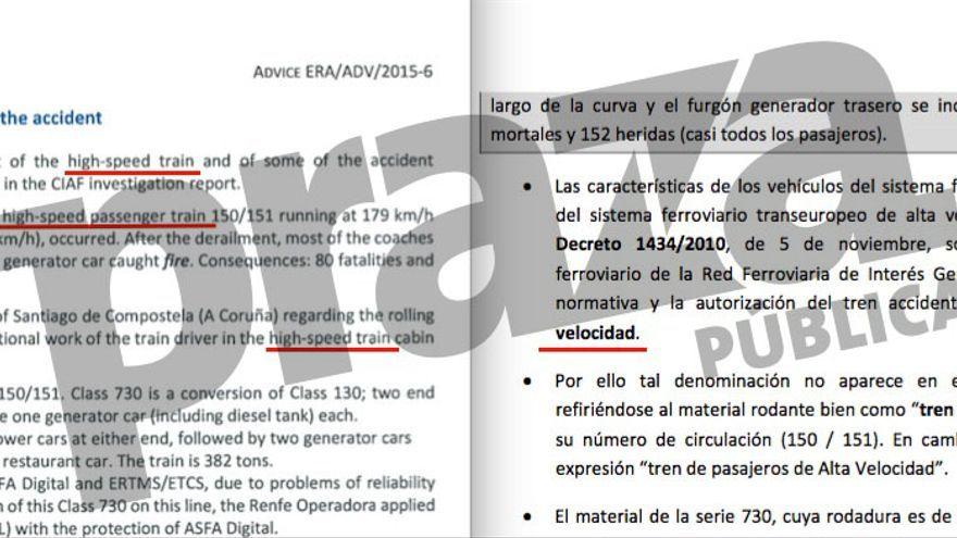 """Informe de la UE denominando """"alta velocidad"""" al Alvia de Angrois y respuestas de la CIAF negándolo"""