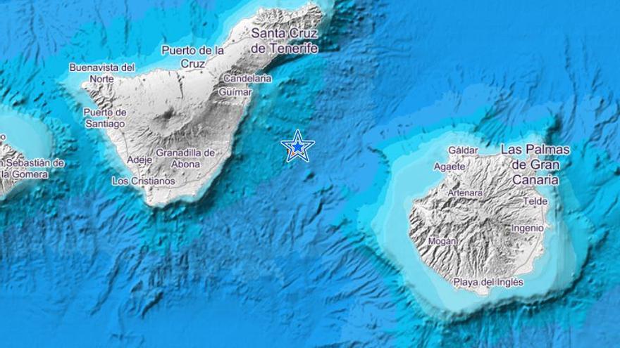 Registrado un terremoto de magnitud 2,8 entre Tenerife y Gran Canaria.