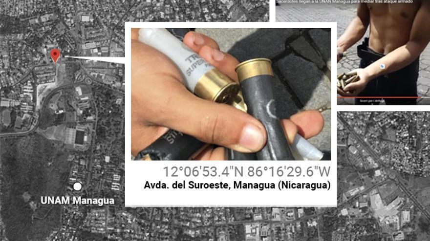 Cartuchos españoles encontrados la mañana del 23 de junio de 2018 cerca de la universidad de Managua.