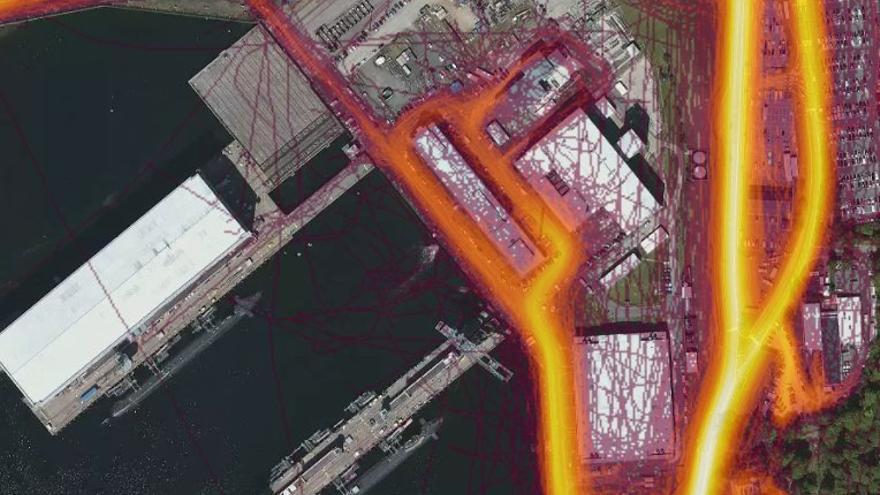 Rutas de Strava alrededor de una base nuclear en California